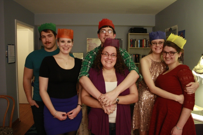The whole crew with our paper crowns from the Christmas crackers.