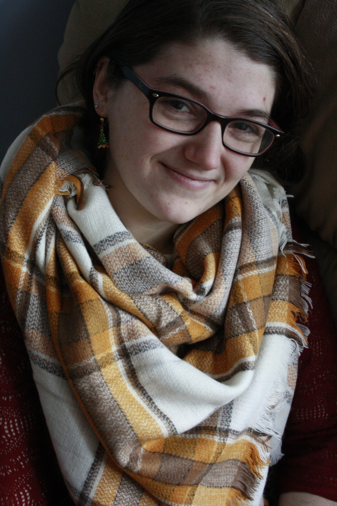 Her first blanket scarf, from asos!