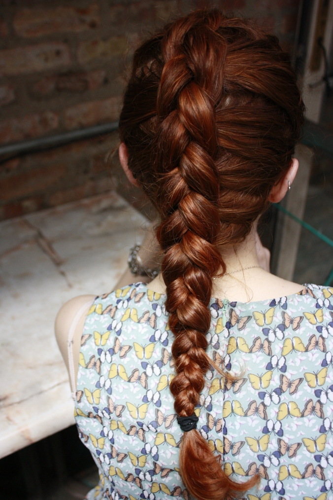 Hair shot. Dutch braid.