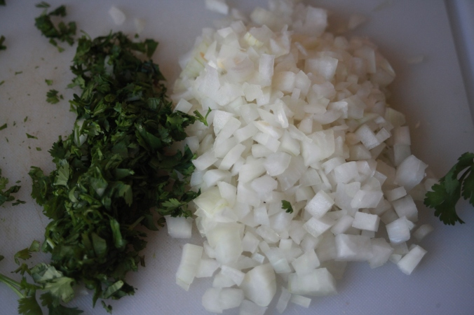 minced onions and cilantro