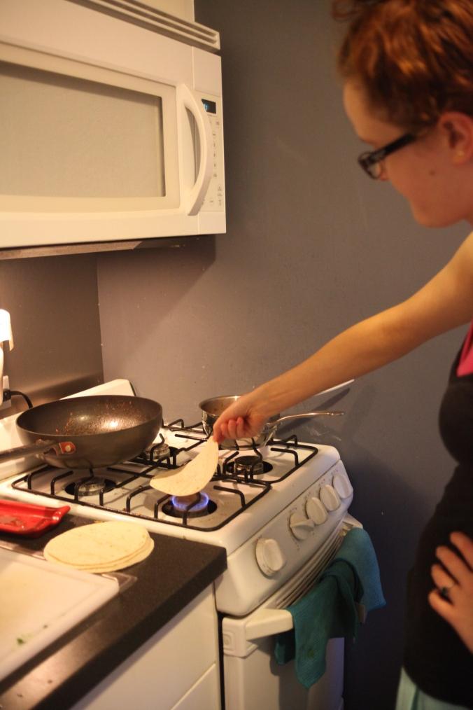 fire the tortillas