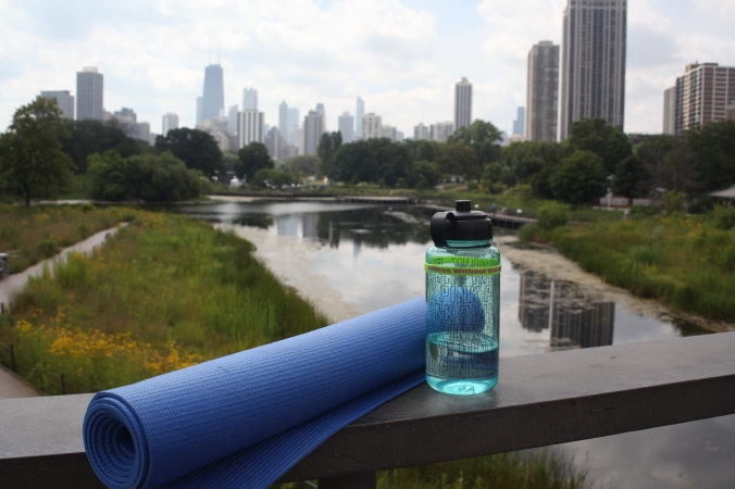 yoga mat and PINK water bottle, Lincoln Park Zoo Yoga | Stile.Foto.Cibo