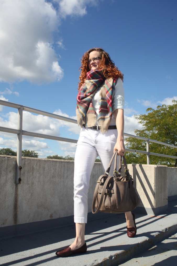 Fall Fashion, Gap Chambray, Target slacks, Gap loafers, Brina Box blanket scarf | Stile.Foto.Cibo