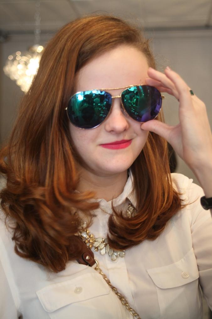 T+J Designs Blue Mirrored Aviator Sunglasses | Stile.Foto.Cibo