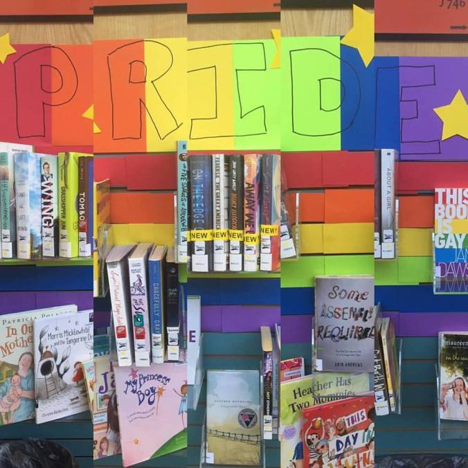 Display of LGBT-friendly books at work.